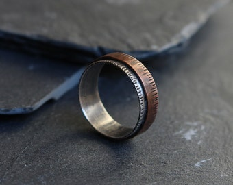 SALE Rustic mixed metal mens ring, 925 sterling silver ring, Copper mens ring, Wide band ring, Oxidized band for men
