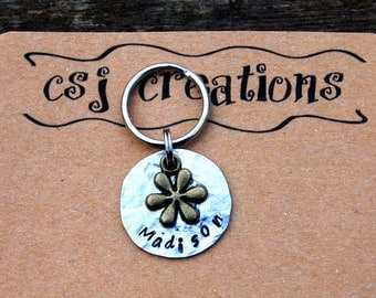 Personalized Hand Stamped Hammered Flower Small Dog ID Tag, Custom Hand Stamped Hammered Flower Cat ID Tag, Personalized Cat ID Tag