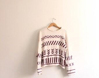 Line Pattern Boxy Sweater