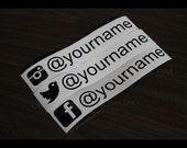 "Social Media Your Name vinyl decals 1.25"" x 7"" custom laptop window sticker iPad skin"