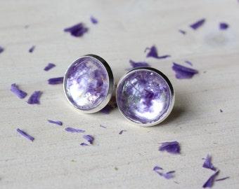 Vibrant Purple Flower Earrings