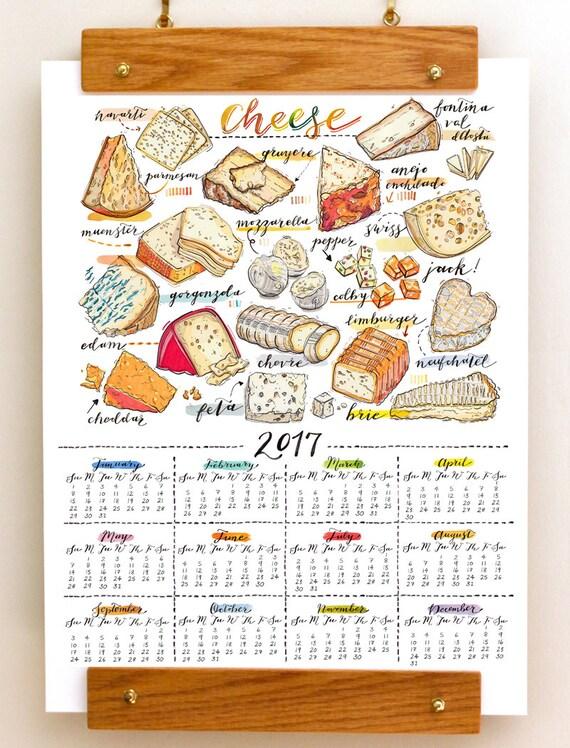 2017 wandkalender. Kaas. Illustratie van het voedsel. Het Decor van de keuken.