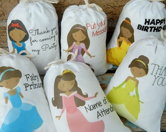 """African American Princess Birthday favor Bags for treats and gifts Can be Personalized any message 5"""" X 7"""" or 6"""" X 8"""" Qty 6"""