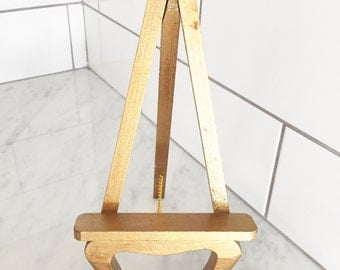 Gold Wood Easel, Vintage Wood Easel, Ornate Gold Easel, Plate Holder, Gold Plate Stand, Gold Stand,