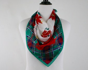 Vintage Poinsettia and Plaid Square Christmas Scarf
