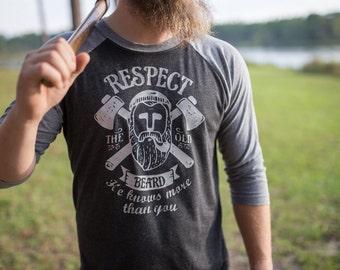 Respect The Beard - Mens Beard Shirt - Beard Shirt - Fear the Beard shirt - Gift for Him - Gift for Dad - Beard Shirts for Men - Husband Gif