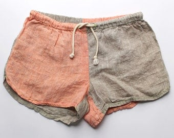 Linen Shorts > Orange / Sand Combo