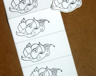 Snail postman sticker labels for pen pal letters, happy mail, mail art, smashbooks, planners, scrapbooking, cards, papercrafts. Hand stamped