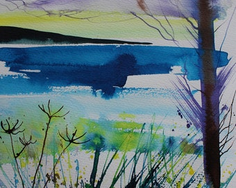 Original seascape painting, ink on paper, ink painting, cornwall seascape, sunset painting, cornwall coast, hedgerow painting