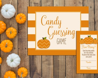 Candy Guessing Game - Little Pumpkin Baby Predictions - Little Pumpkin Shower - Fall Shower - Orange Stripes - INSTANT DOWNLOAD - Printable
