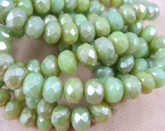 Czech Beads, 6x8mm Rondelle, Czech Glass Beads - Lime Green with a Frosty Picasso (R8/N-0308) - Qty. 25
