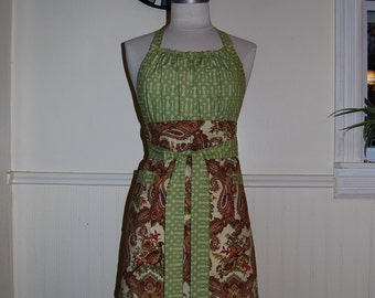 Green, Red, Cream Damask Birds Full Kitchen Apron with Gathered Bodice and Pockets
