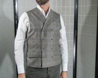 Gray Windowpane Double Breasted Waistcoat