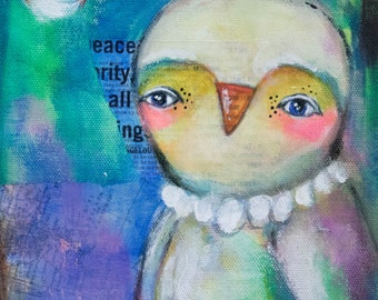 8x10 Giclee Print of Original Moonlight OWL Painting, art print ready to frame, Holiday Gift Whimsical Owl Acrylic painting