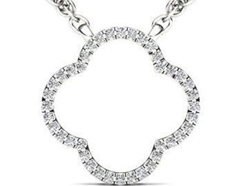 10Kt White Gold 0.10 Ct Diamond Clover Pendant