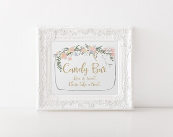 "INSTANT DOWNLOAD - Candy Bar Printable Sign 8x10"" DIY Wedding Swash style... Floral Pink and Gold design"