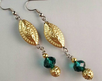 Long Dangle Eclectic Earrings with Gold Toned Beads and Green Glass Beads - Bohemian Earrings