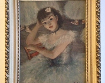 "Pretty Vintage Huldah Framed Art Work Print / Impressionistic Painting of Dancer / Girl in Blue 14"" x 18"""