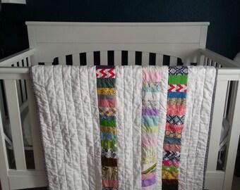 Scrappy Coin Quilt, Baby Blanket, Crib Quilt, Toddler Blanket, Snuggle Quilt, Security Blanket, Throw Blanket, Travel Blanket
