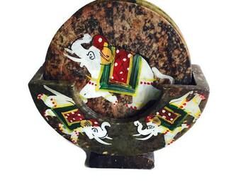 Vintage Coaster Set Painted India Elephant Sari Decor Stone Coasters (5) with Holder Asian Elephant Parade Hostess Gift Housewarming