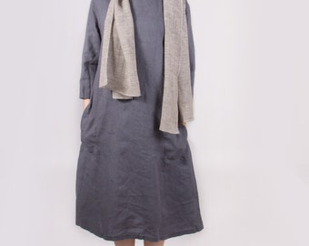 Dark slate grey dress Linen dress Oversize linen dress Round neckline dress White dress Beige Coffee Milk linen dress