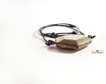 Undeceived Pendant from Align Energy with Natural Iron Pyrite Gemstone /// Align Energy Gemstone Energy Pendant /// Unisex Mineral Jewelry