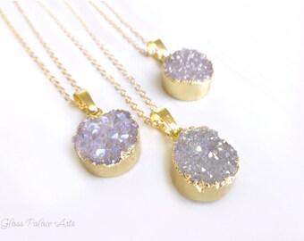 Druzy Necklace Gold, Natural Druzy Necklace, Small Crystal Gemstone Necklace Bridesmaid Gift, Druzy Pendant Necklace, Agate Druzy Lavender