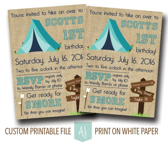 Camping Theme Invitations: Child's Birthday Invitation In Camping Theme-First