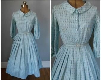 Vintage 1950s Dress / Vintage 50s Floral Dres / Vintage 50s Day Dress / Vintage 1950s Pleated Dress / Full Skirt Dress / Blue Dress