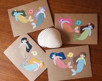 Mermaid Soiree Card Design - Set of 4 Handmade Greeting Cards - Mermaid Greeting Cards - Handmade Note Cards - Mermaids and Fish