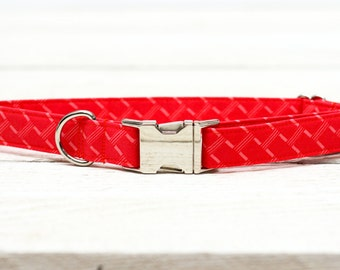 Female Dog Collar, Coral, Hot Pink, Red, Girl, Pets  - Metal Buckle