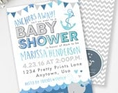 Whale Baby Shower Invitation, Blue and Gray Nautical Shower, Anchors Away, Boy Baby Shower, Nautical Invitation, Printable Invite, #N4