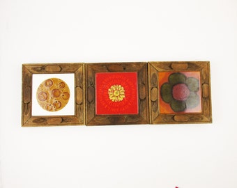 Three Ceramic Tile Trivets - 'Vitroceramica Made in Spain' - Kitchen - Buffet - Decorative Ceramic Trivets With Wood Frames - Mix and Match