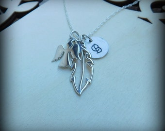 Sterling silver guardian angel  necklace, feather necklace, memorial jewelry