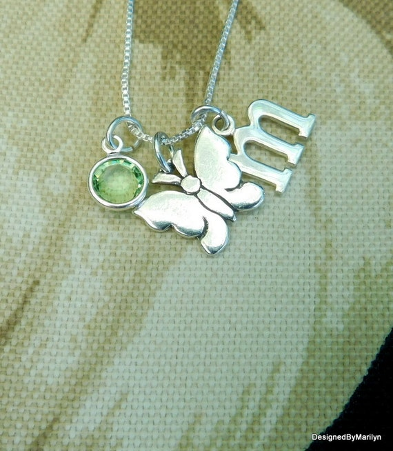 Butterfly necklace, sterling silver necklace, new beginnings charm necklace, mythical necklace