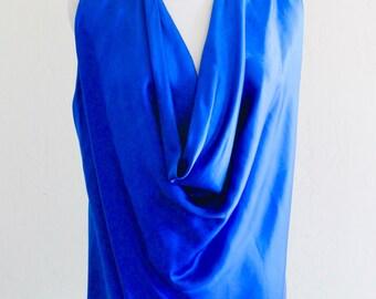 1970's Cobalt Blue Silk Cowl Neckline Top by Christine Thomson for Chavo