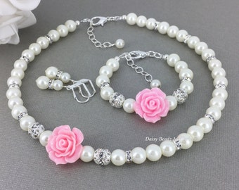 Flower Girl Jewelry Set, Flower Girl Jewelry, Flower Girls Gift, Pink Flower and Ivory Pearl Necklace Set, Pink and Ivory Jewelry