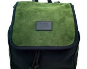 Green Beret Globe Split Leather Backpack, Canvas and Split Leather Backpack, Mediterranean Inspired, Women's Backpack