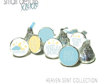 Baby Shower -HEAVEN SENT kiss stickers ~ for Hershey's Kisses® Chocolate - Blue & Yellow Baby Shower