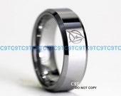 Classic STAR TREK Star Fleet Insignia 8MM Tungsten  High Polish Silver Beveled Ring, Free Inside Engraving