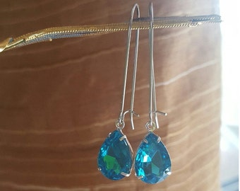 Statement Earrings Aqua Pacific Blue Dangle Chandelier Earrings Crystal Earrings Weddings Bridesmaids Proms Chunky Earrings