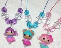 Toddler Gifts for Little Girls Necklace - Purple Pink Aqua Blue Little Mermaid Necklace - Kids Gifts for Girls - Stocking Stuffers For Kids