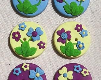 Pastel Flower Garden Buttons