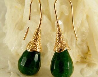 Green gold earrings, Emerald color earrings, Tear drop earrings, Gold dangle earrings, Bridesmaid earrings, Gift for her, Green gold jewelry