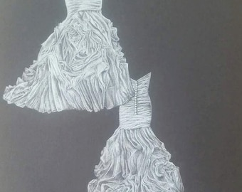 """9""""x12"""" Custom Wedding Gown Drawing Front and Back View"""