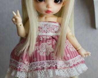 Pink lace dress set for Pukifee or similar sized dolls