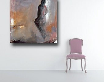 abstract figure painting - lavender canvas print - FREE US SHIPPING