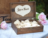 Heart Holder for Guest Book - Heart Drop Guest Book Alternative Box - Heart Box - Wedding Box - Wedding Card Holder - Rustic Weddings