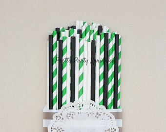 Green, Black and White Straws, Starbucks Party, Safari Birthday Party, Emerald Wedding Decor, Pineapple Theme, Crocodile, Dinosaur Party