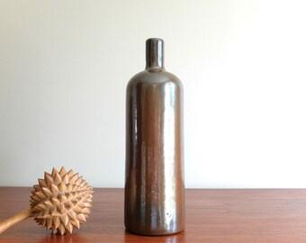 French Vintage signed ceramic bottle signed , 1960s